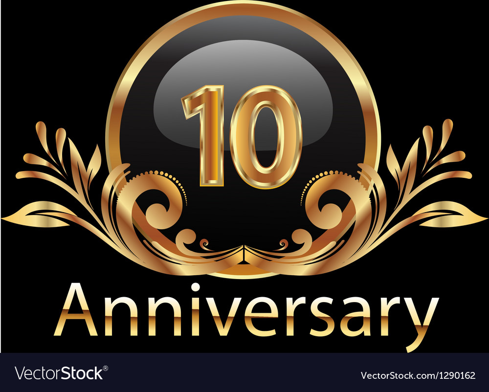 10 years anniversary birthday in gold vector | Price: 1 Credit (USD $1)