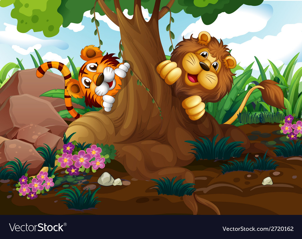A tiger and a lion playing at the forest vector | Price: 1 Credit (USD $1)