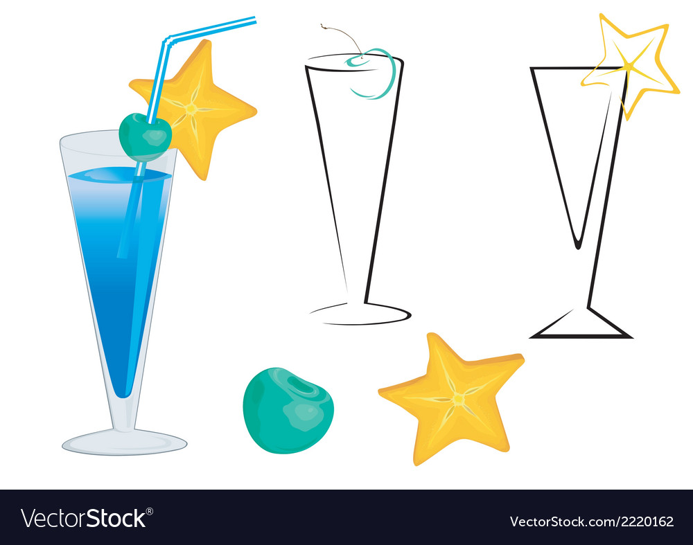 Blue cocktail vector | Price: 1 Credit (USD $1)