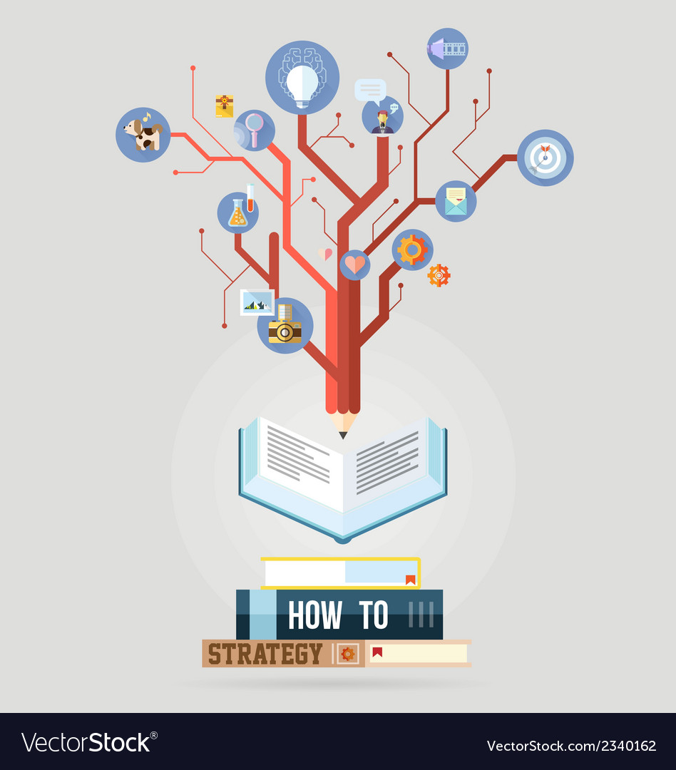 Book with knowledge business strategy plan concept vector | Price: 1 Credit (USD $1)
