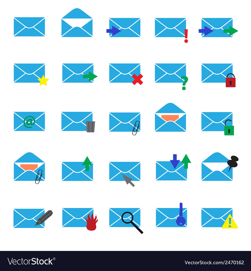 Computer mail simple light blue icons eps10 vector | Price: 1 Credit (USD $1)