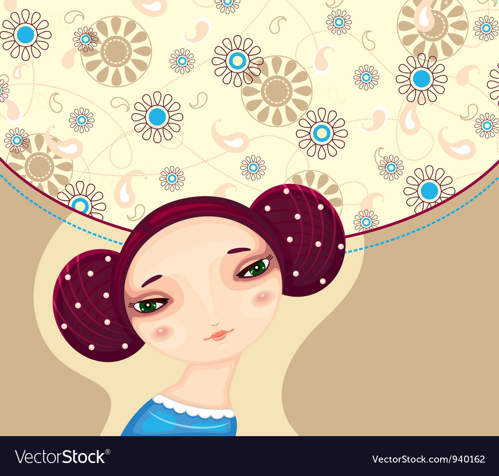 Girl face flower cover vector | Price: 1 Credit (USD $1)