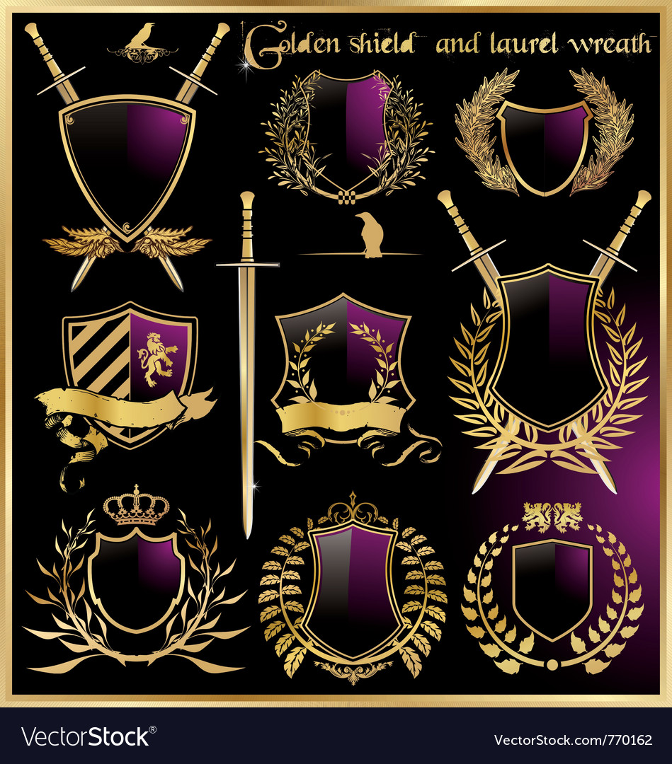 Golden shield and laurel wreath vector | Price: 1 Credit (USD $1)