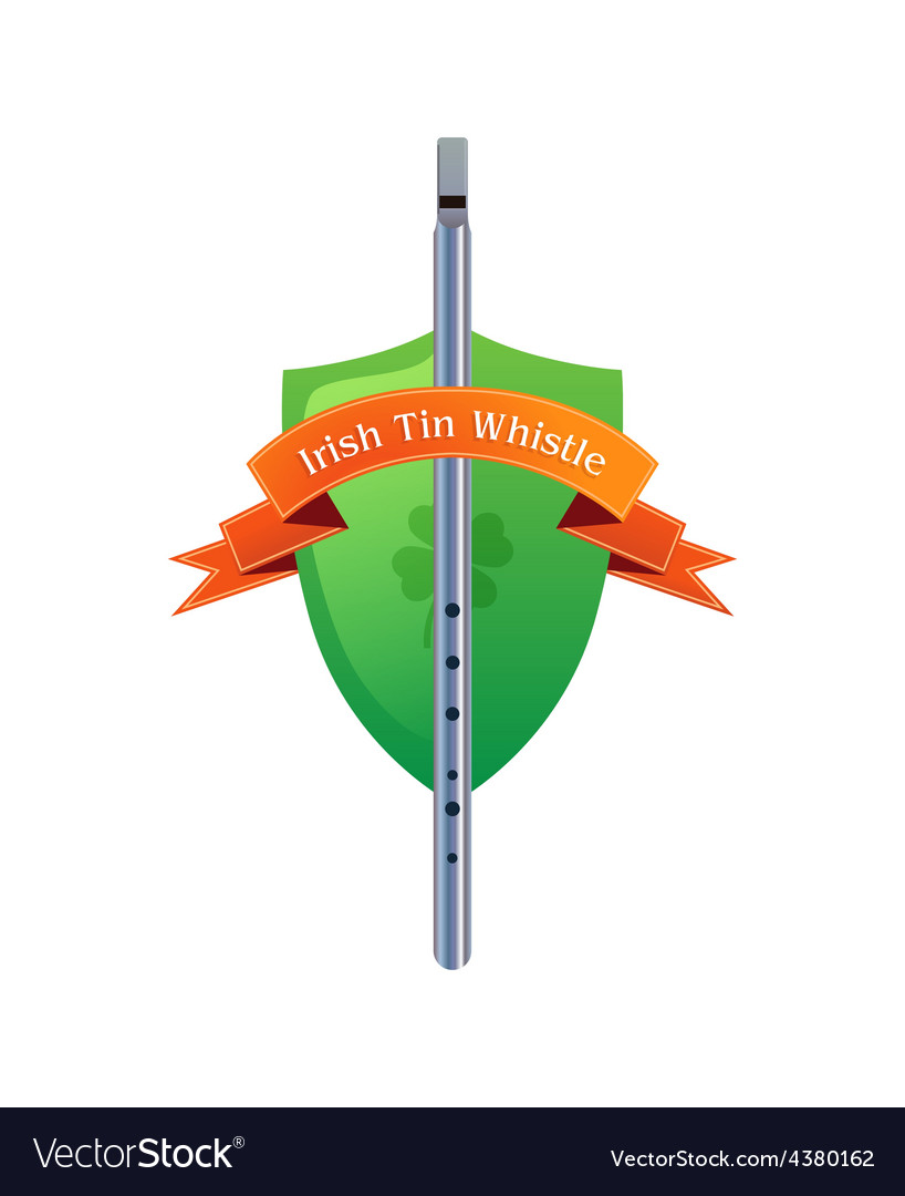 Irish tin whistle on shield vector | Price: 1 Credit (USD $1)