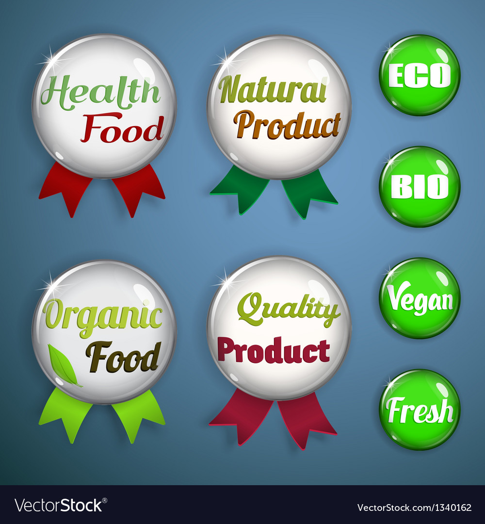 Organic labels badges and stickers from glass vector | Price: 1 Credit (USD $1)