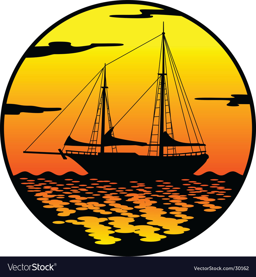 Ship at sunset vector | Price: 1 Credit (USD $1)