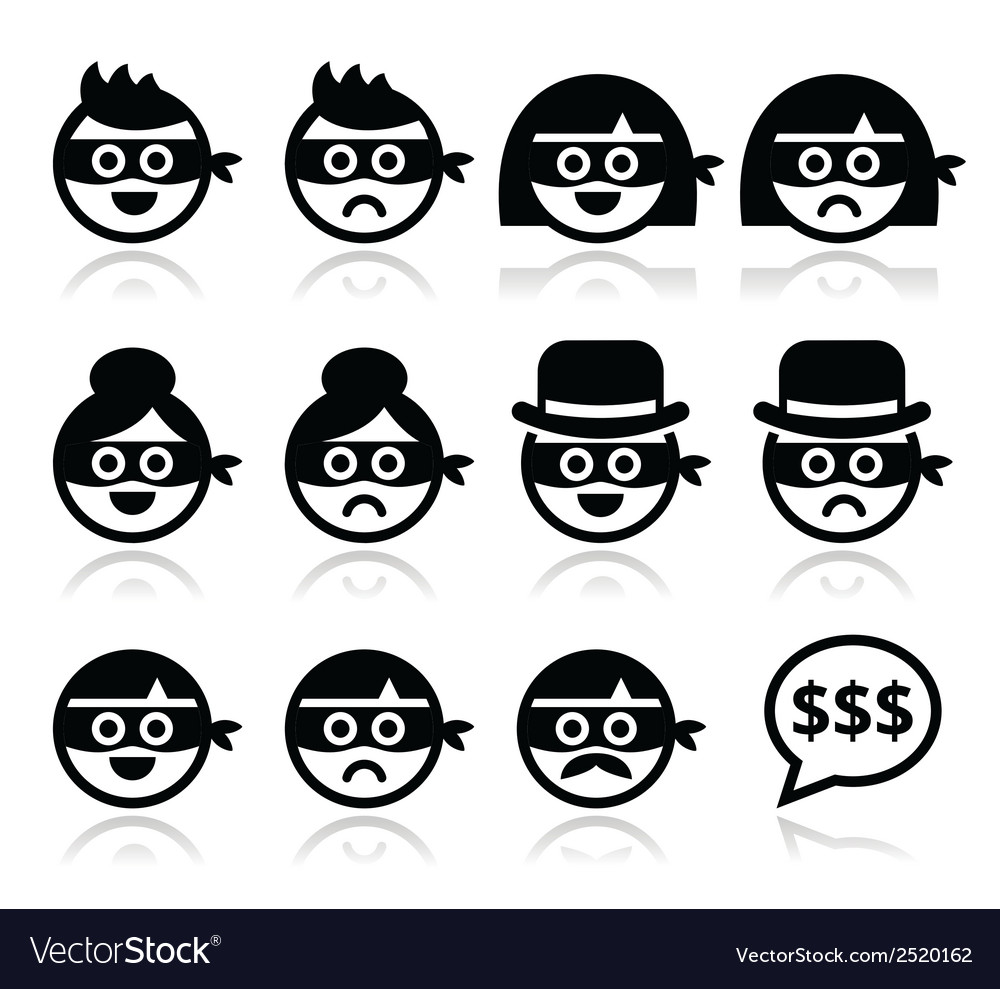Thief man and woman faces in masks icons set vector | Price: 1 Credit (USD $1)