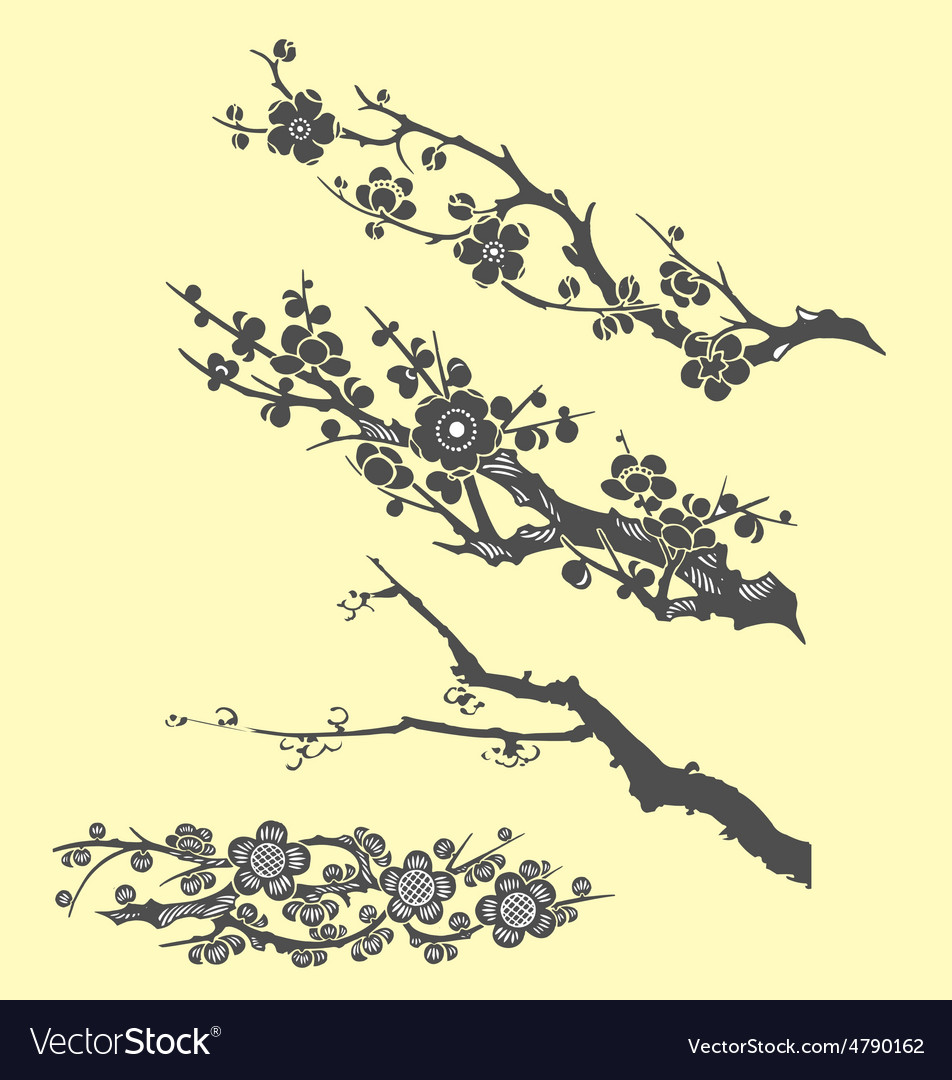 Tree branch oriental ink painting vector | Price: 1 Credit (USD $1)
