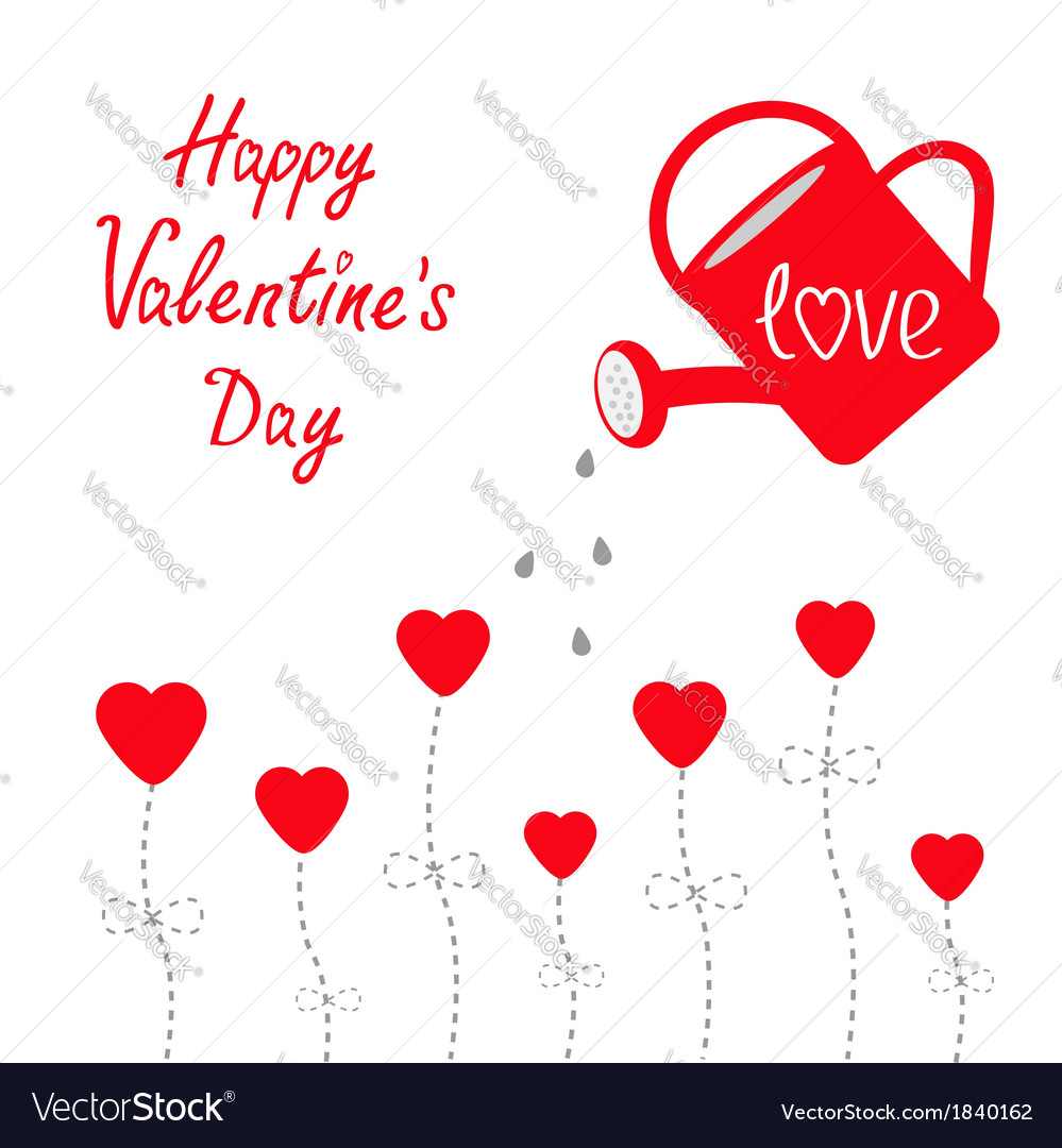 Water can and red flowers happy valentines day vector | Price: 1 Credit (USD $1)