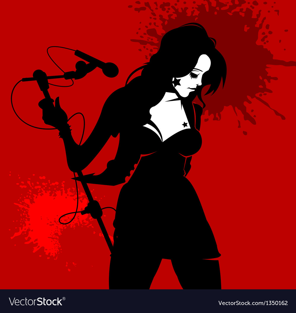 Woman singer in a band vector | Price: 1 Credit (USD $1)