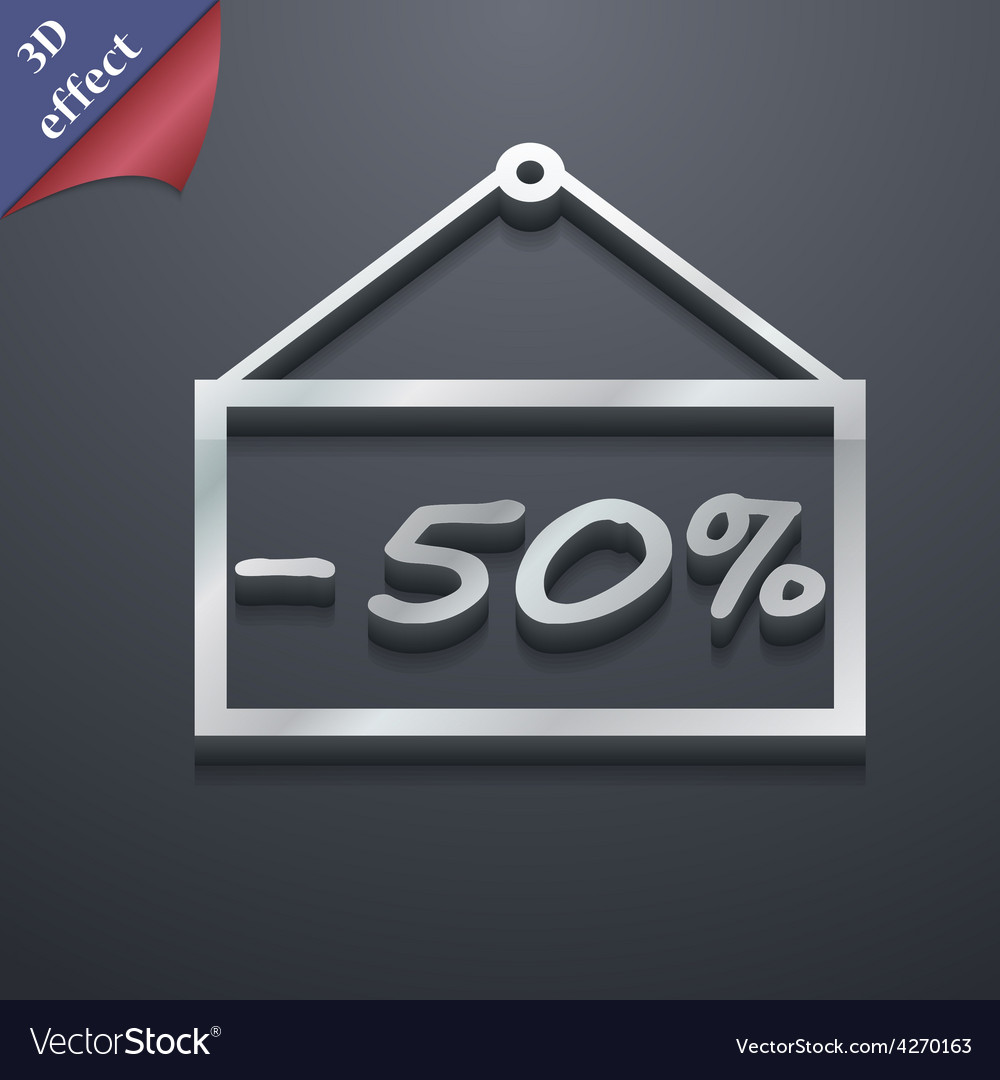 50 discount icon symbol 3d style trendy modern vector | Price: 1 Credit (USD $1)