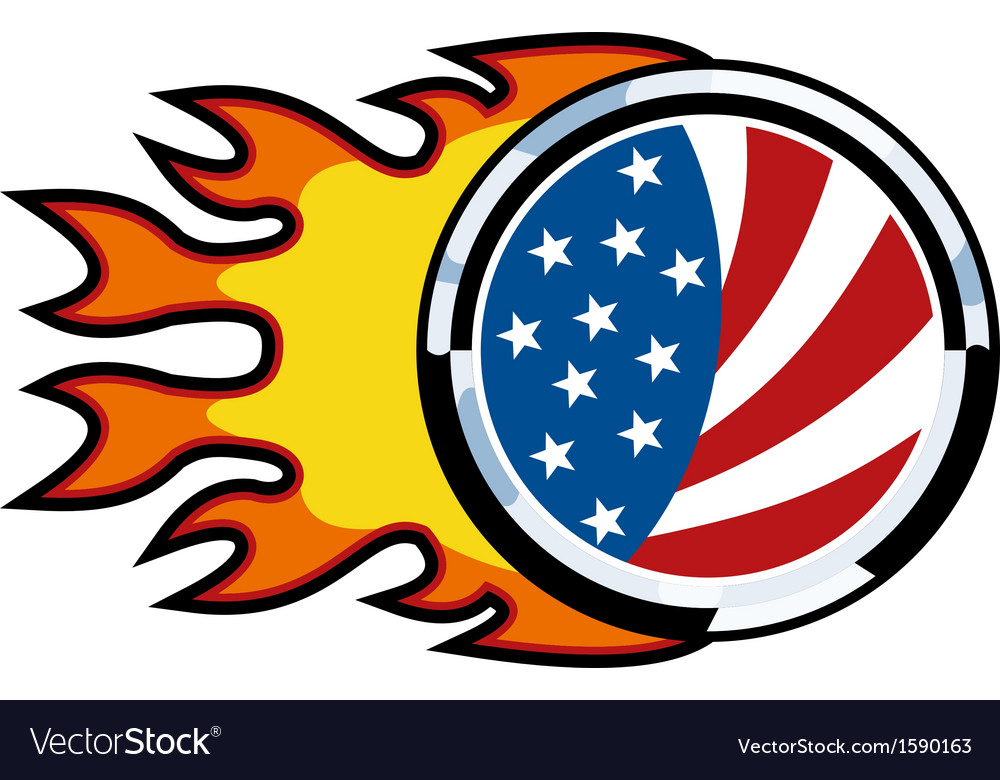 American flag on fire vector | Price: 1 Credit (USD $1)
