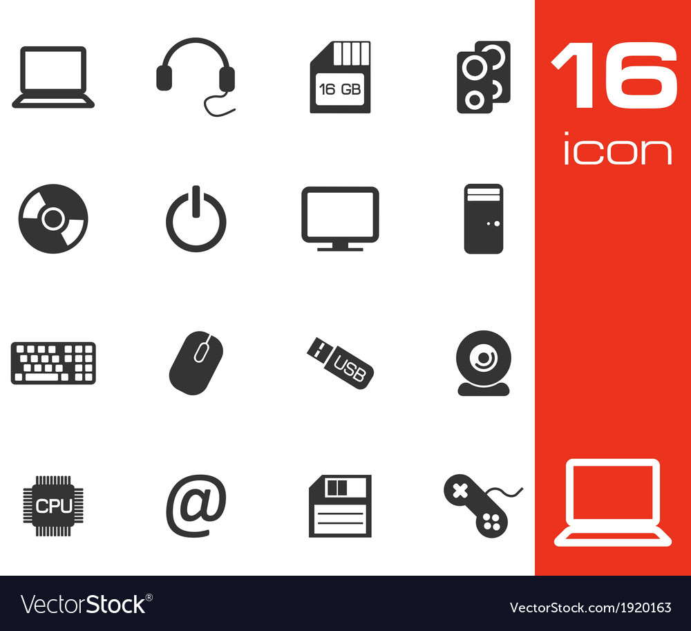 Black computer icons set on white background vector | Price: 1 Credit (USD $1)