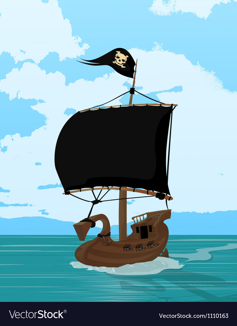 Black sails pirate ship vector | Price: 1 Credit (USD $1)