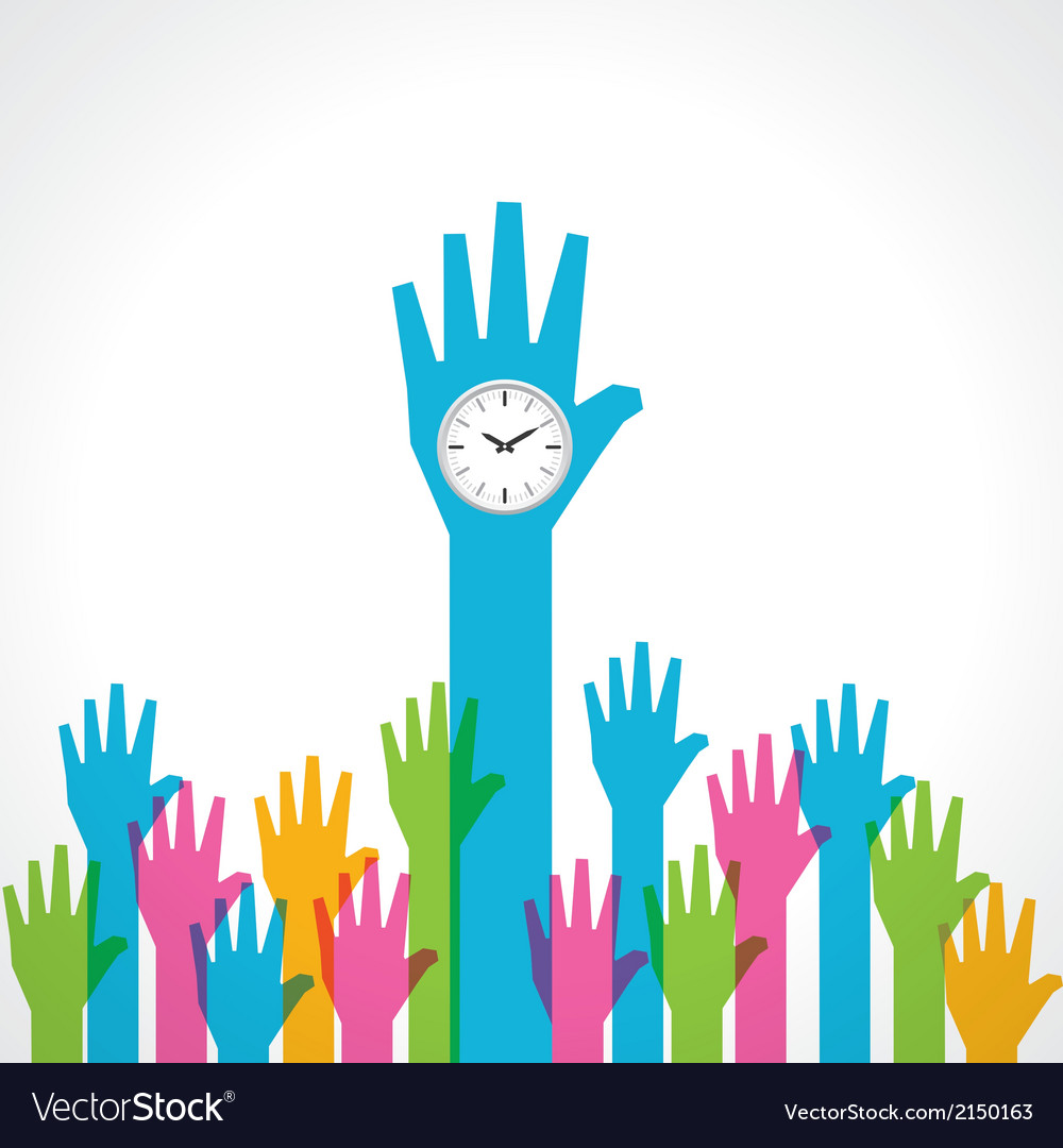Colorful helping hand with clock vector | Price: 1 Credit (USD $1)