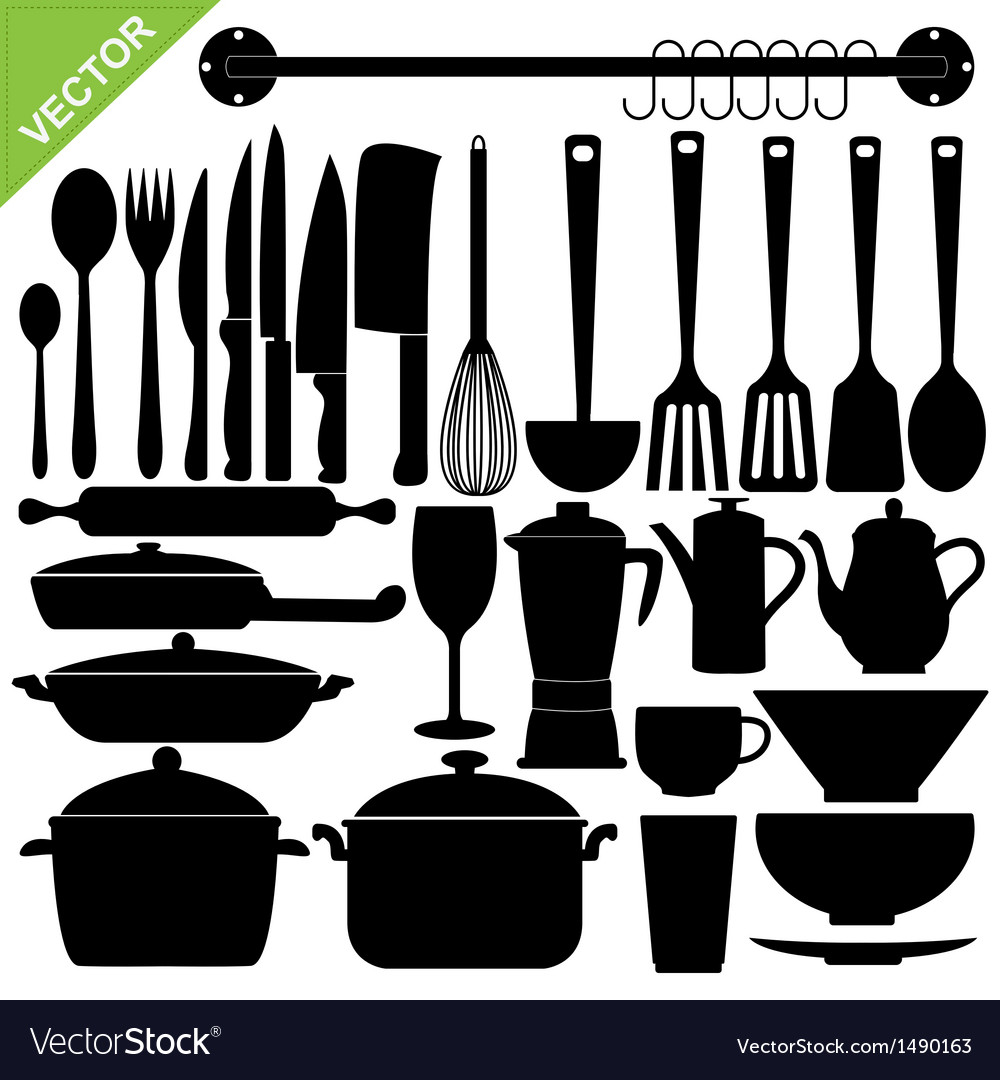 Kitchen tools silhouettes vector | Price: 1 Credit (USD $1)