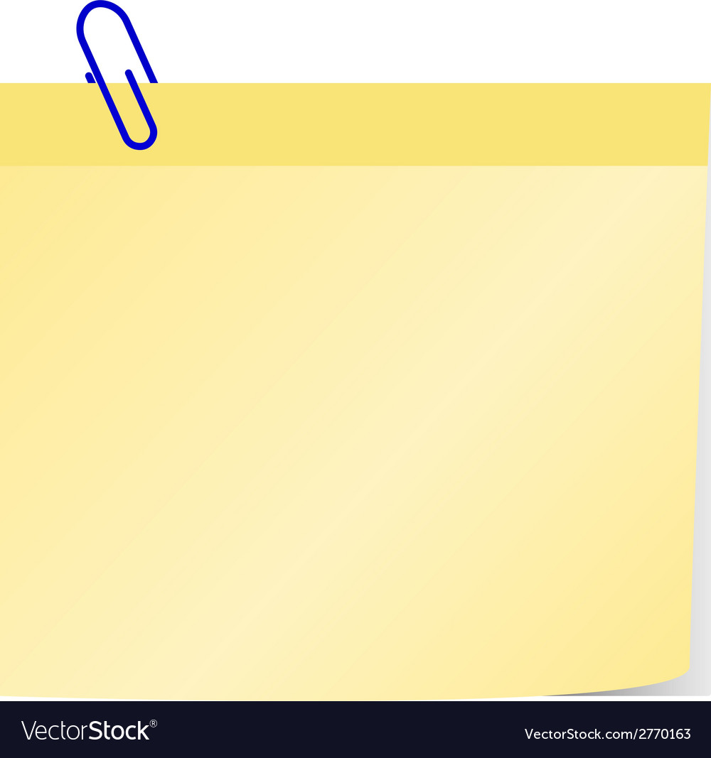 Post it with blue clip vector | Price: 1 Credit (USD $1)