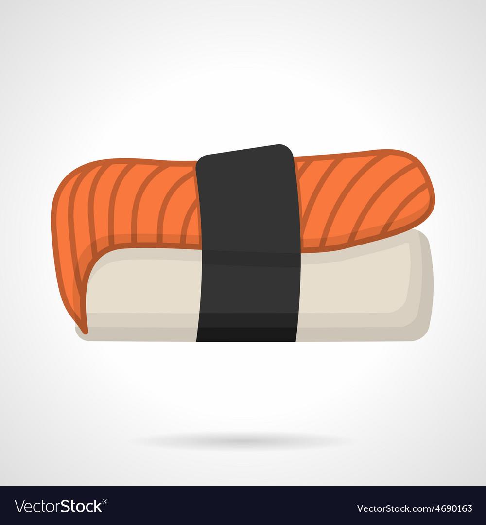 Salmon nigiri sushi flat icon vector | Price: 1 Credit (USD $1)