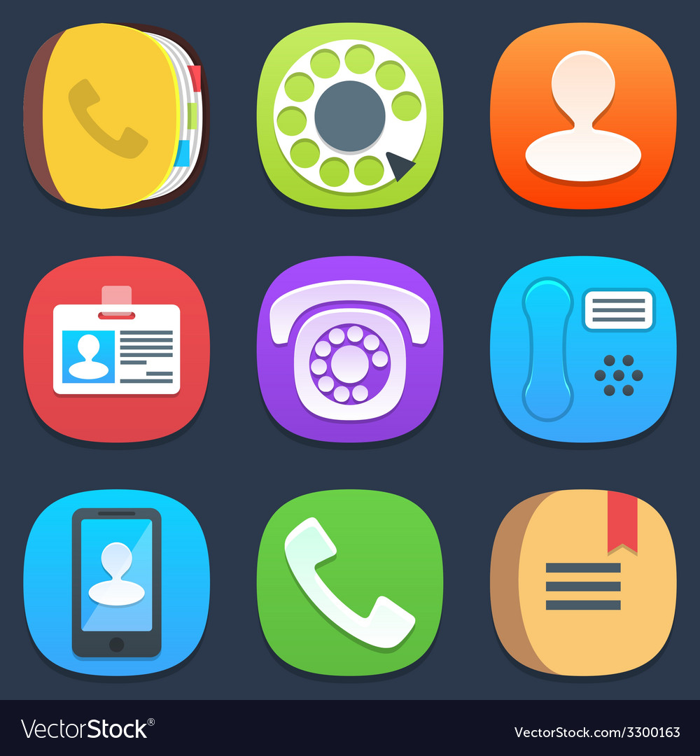 Set of phone and contacts mobile icons in flat vector | Price: 1 Credit (USD $1)