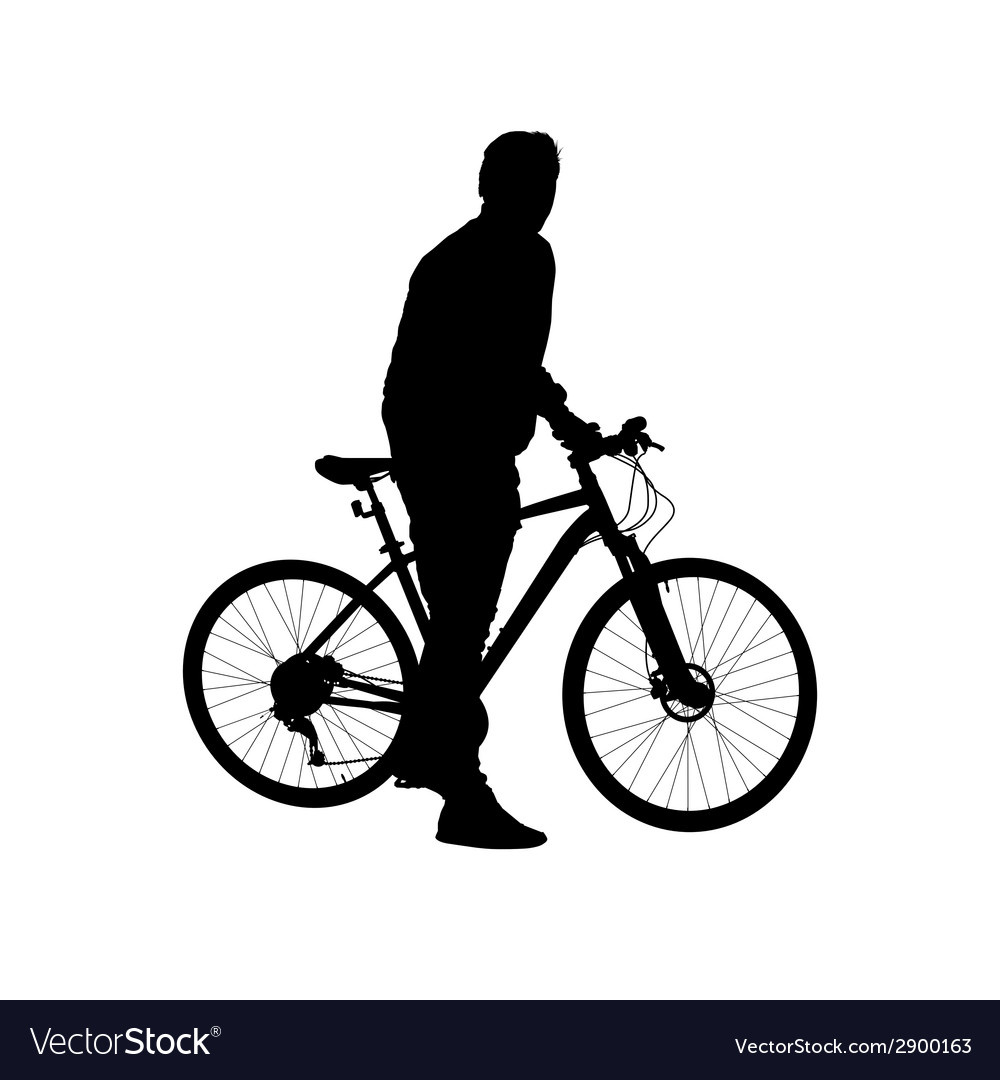 Silhouette man on a bicycle vector | Price: 1 Credit (USD $1)