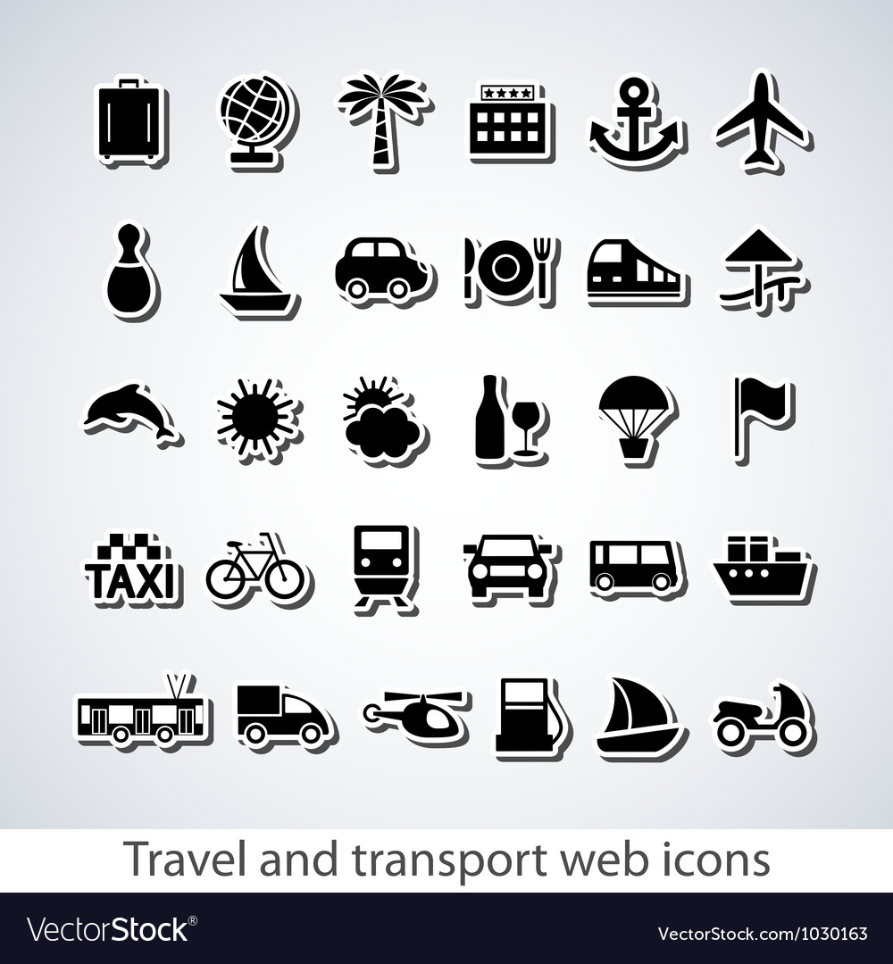 Travel and transport web icons vector | Price: 1 Credit (USD $1)
