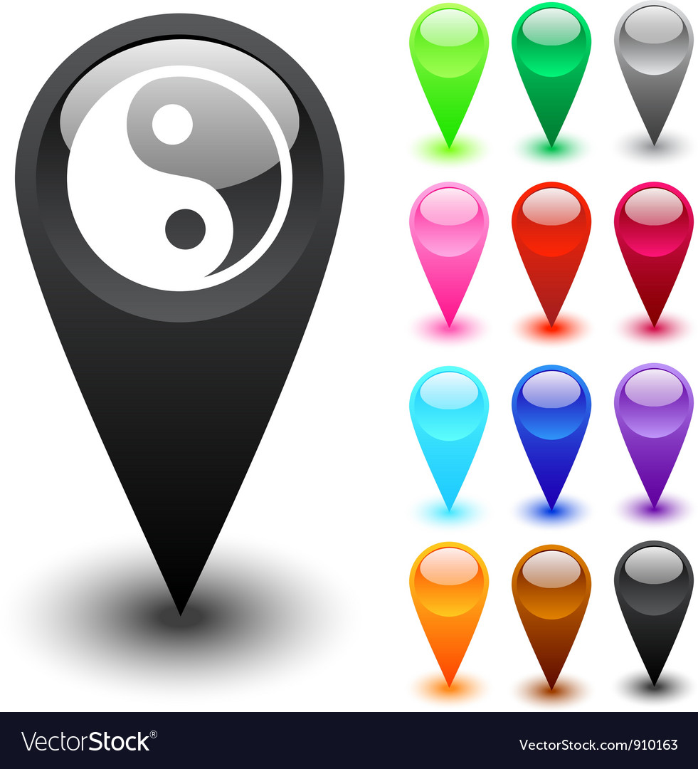 Ying yang button vector | Price: 1 Credit (USD $1)