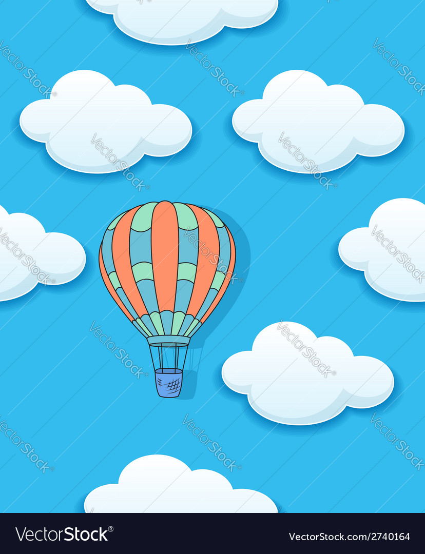 Air baloon and clouds seamless vector | Price: 1 Credit (USD $1)