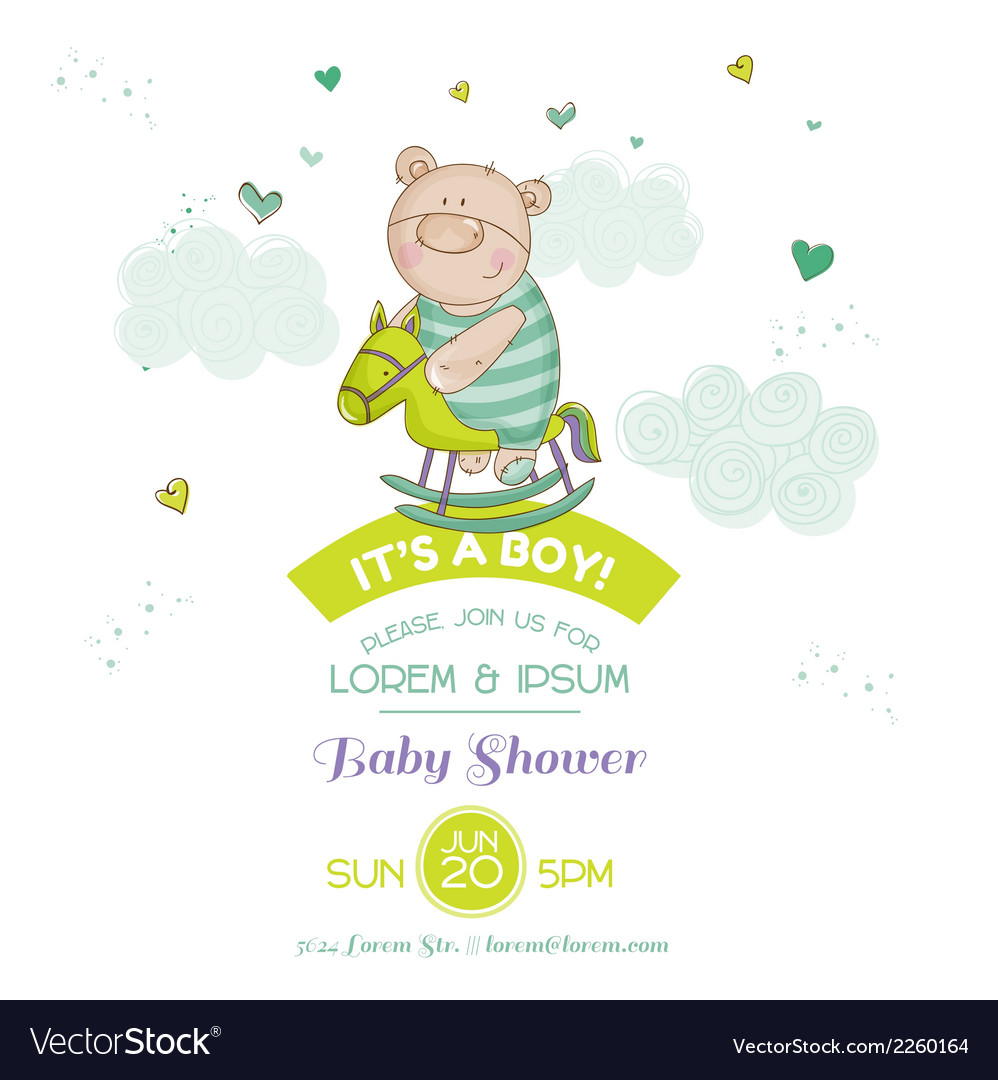 Baby shower card - with baby bear and horse vector | Price: 1 Credit (USD $1)