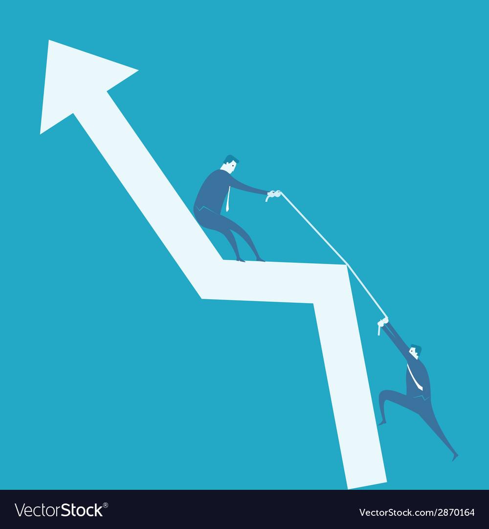 Business man climb positive graph vector | Price: 1 Credit (USD $1)