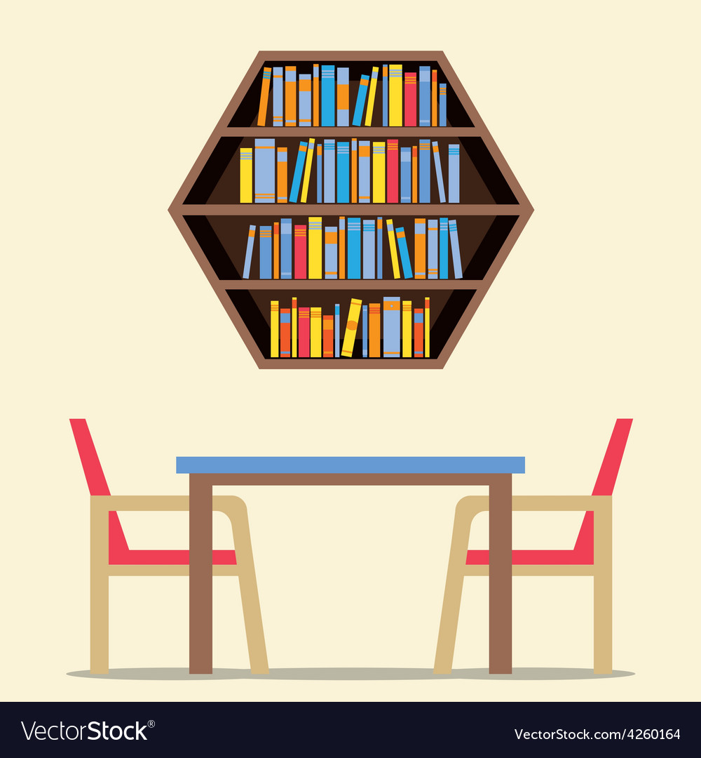 Chairs and table with hexagon bookshelf on wall vector | Price: 1 Credit (USD $1)
