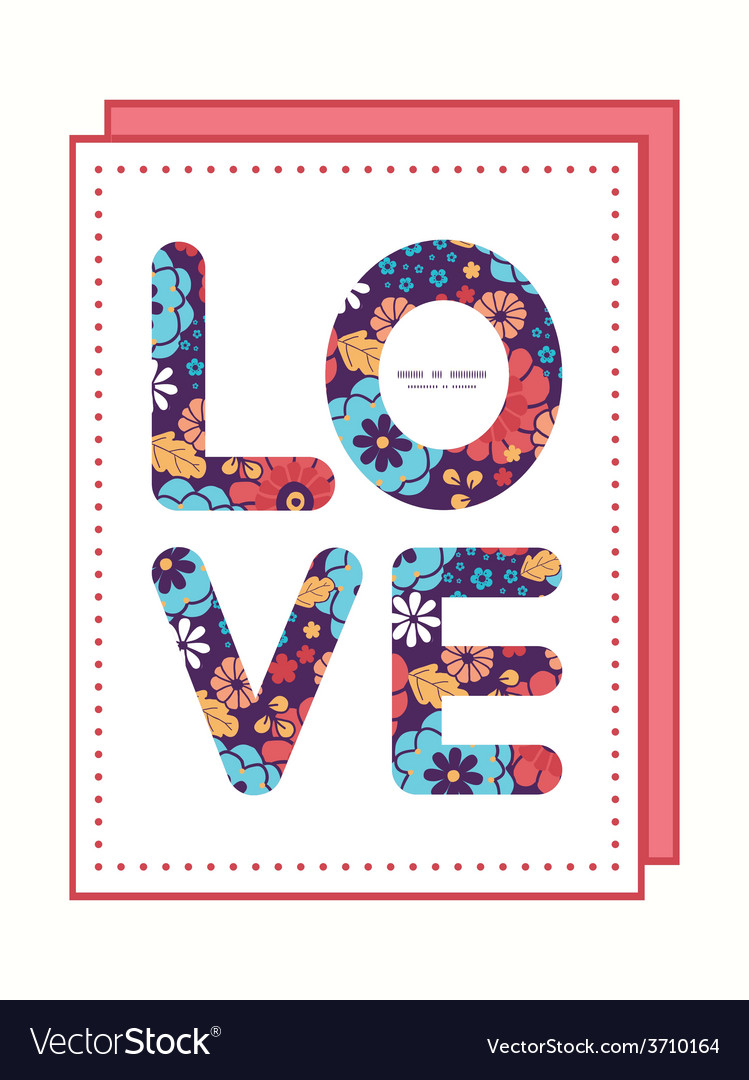 Colorful bouquet flowers love text frame vector | Price: 1 Credit (USD $1)