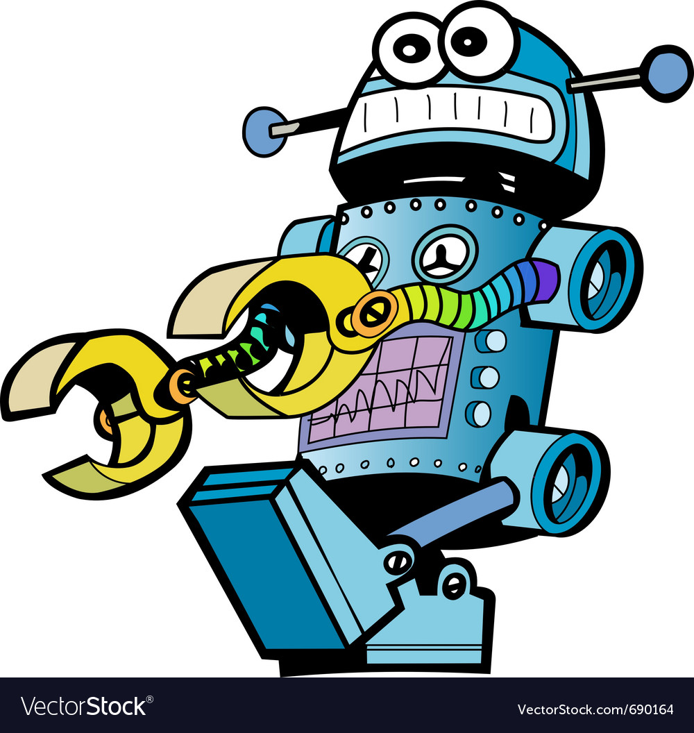 Crazy robot vector | Price: 1 Credit (USD $1)