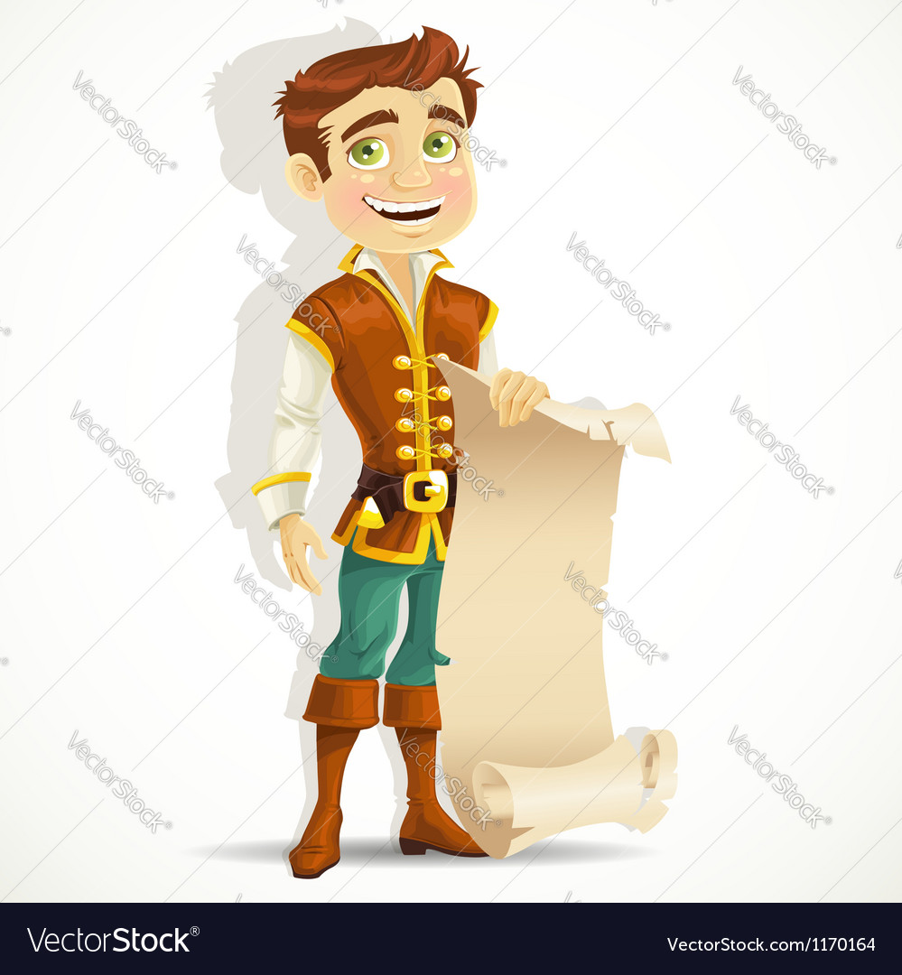 Cute prince with a scroll of parchment vector | Price: 1 Credit (USD $1)