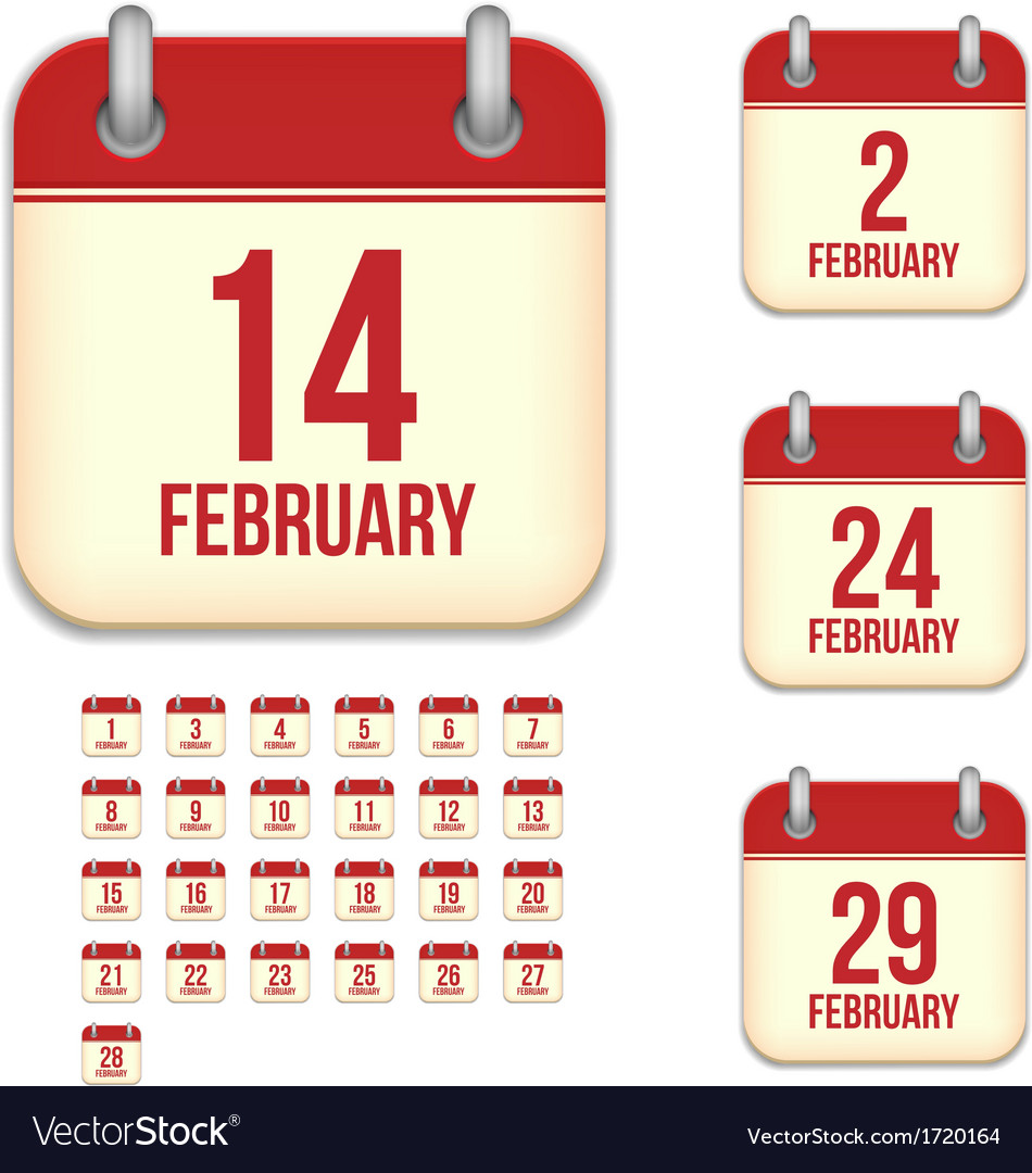 February calendar icons vector | Price: 1 Credit (USD $1)