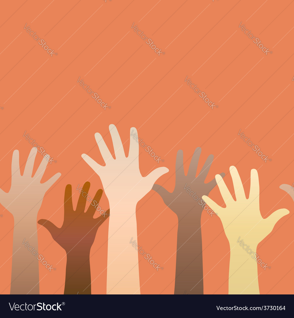 Hands raised up concept of volunteerism vector | Price: 1 Credit (USD $1)