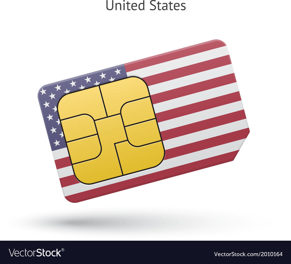 United states mobile phone sim card with flag vector | Price: 1 Credit (USD $1)