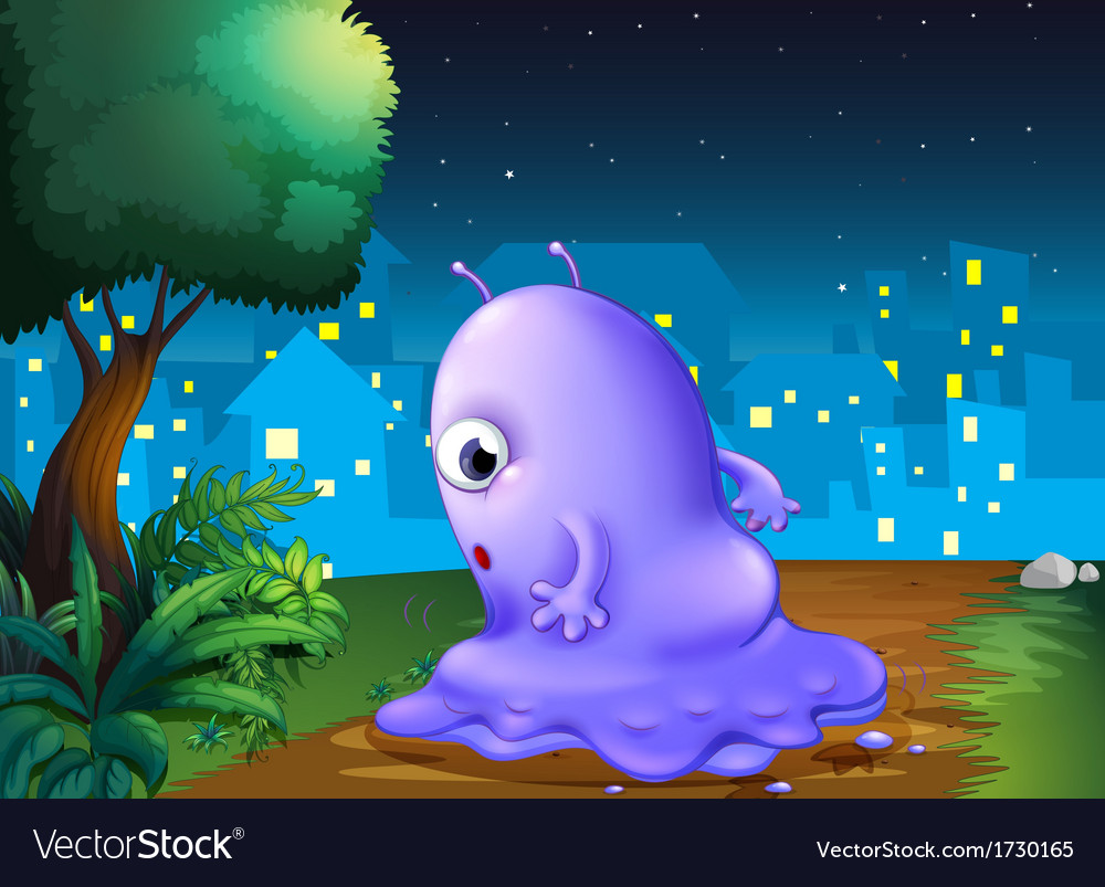 A purple monster strolling in the middle of the vector | Price: 1 Credit (USD $1)