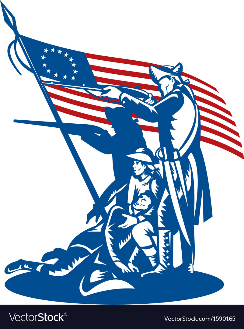 American patriots fighting with betsy ross flag vector | Price: 1 Credit (USD $1)