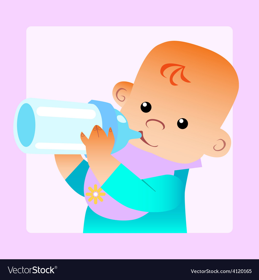 Baby eats food milk bottle vector | Price: 1 Credit (USD $1)