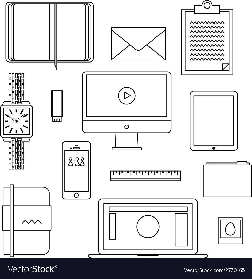 Flat design thin line icons set vector | Price: 1 Credit (USD $1)