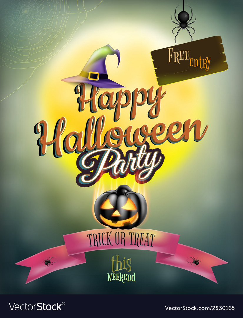 Happy halloween party poster eps 10 vector | Price: 3 Credit (USD $3)