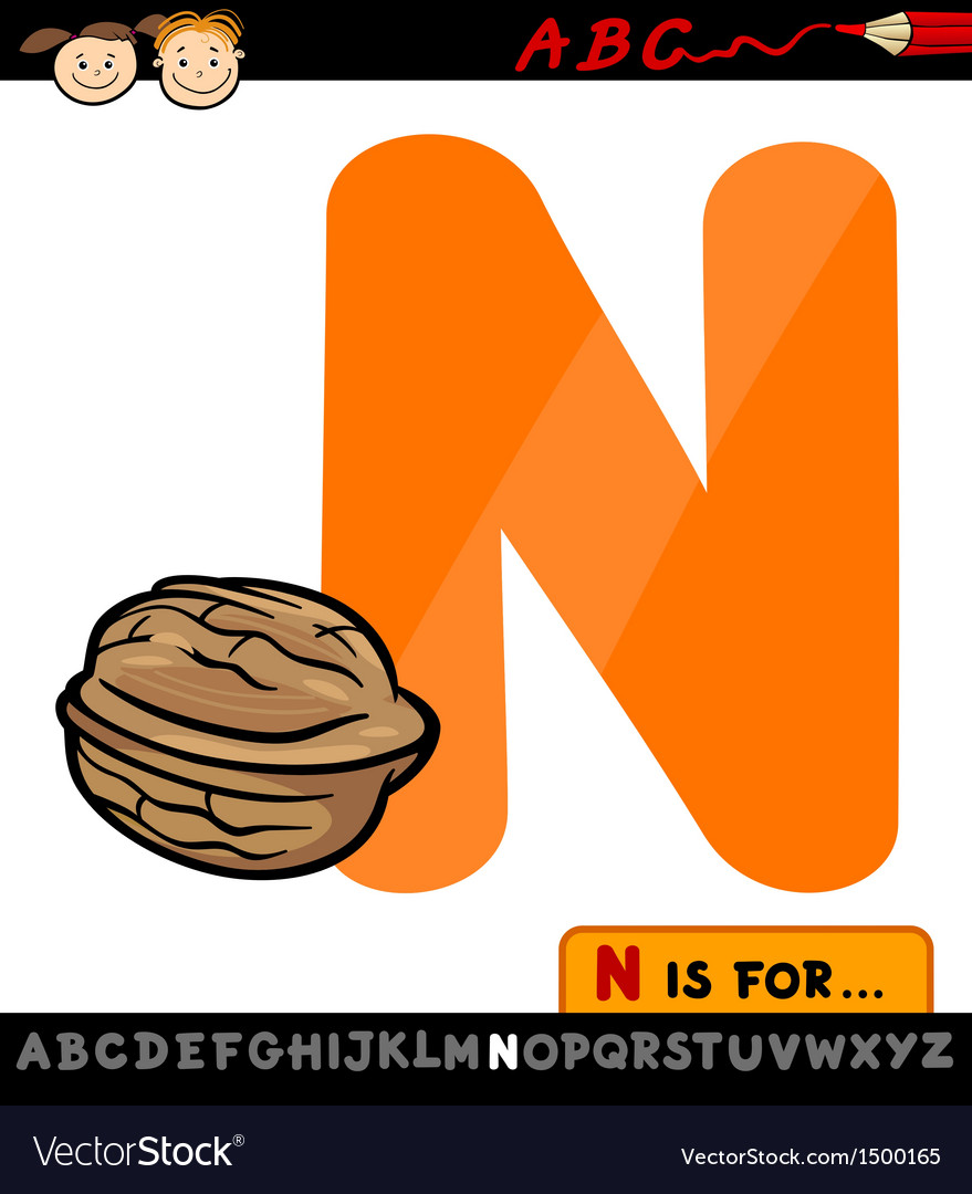Letter n with nut cartoon vector | Price: 1 Credit (USD $1)