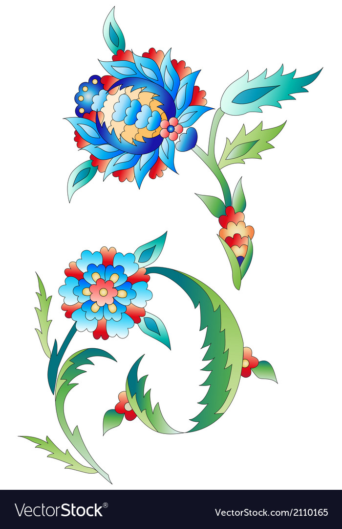 Ottoman art flowers ten vector | Price: 1 Credit (USD $1)