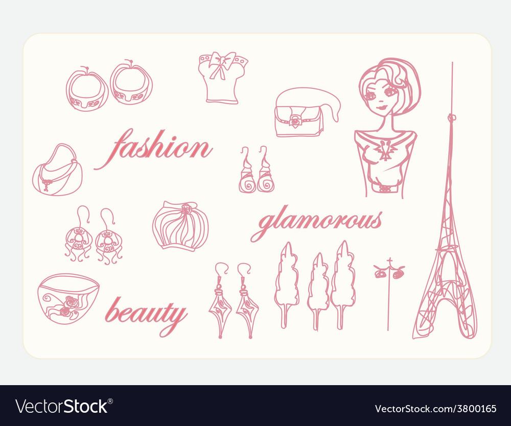 Paris fashion doodles set vector | Price: 1 Credit (USD $1)