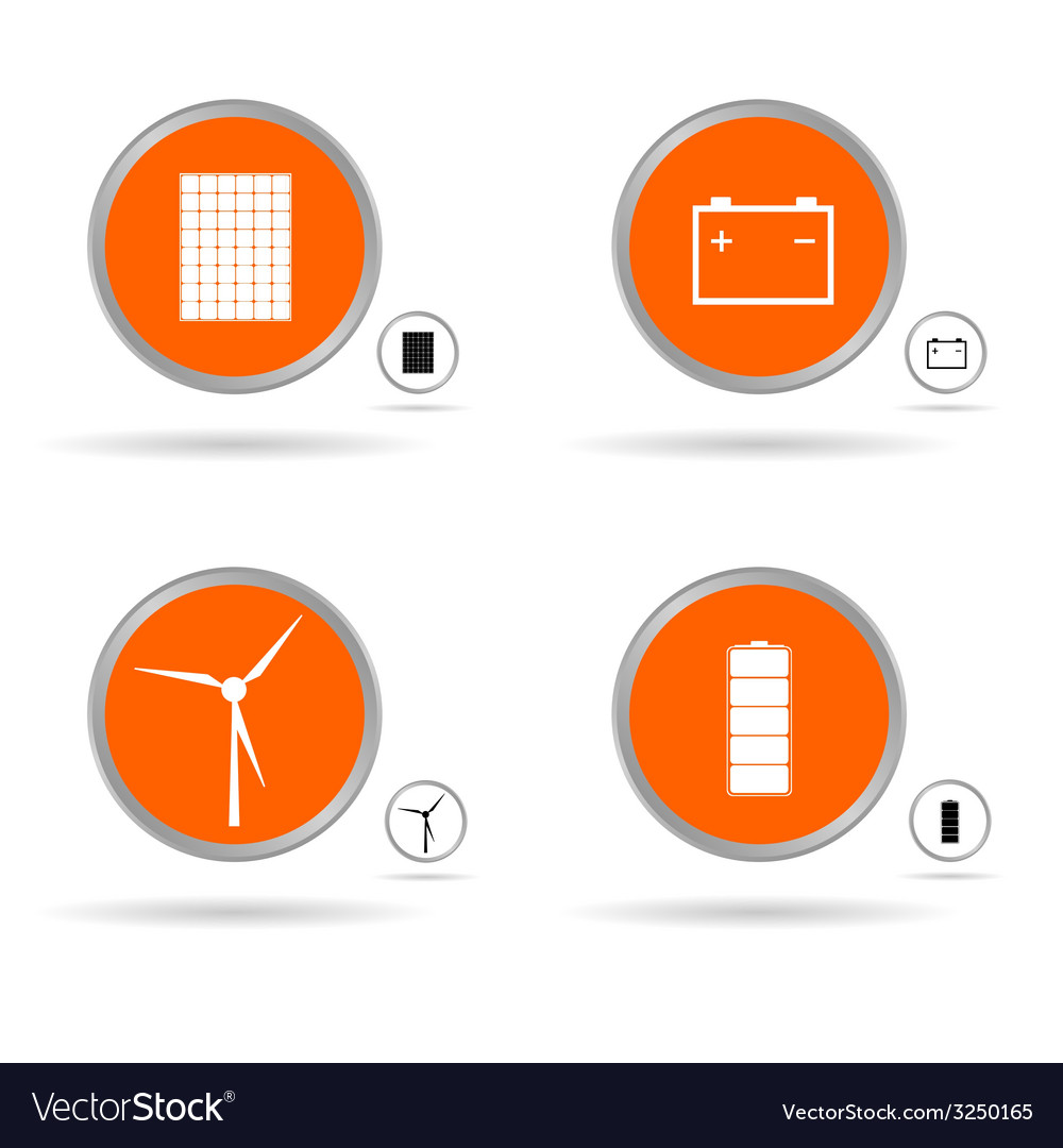 Set energy icon in orange circle vector | Price: 1 Credit (USD $1)