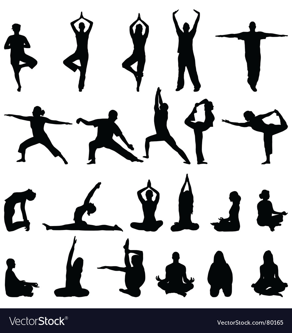 Yoga and meditation silhouettes vector | Price: 1 Credit (USD $1)