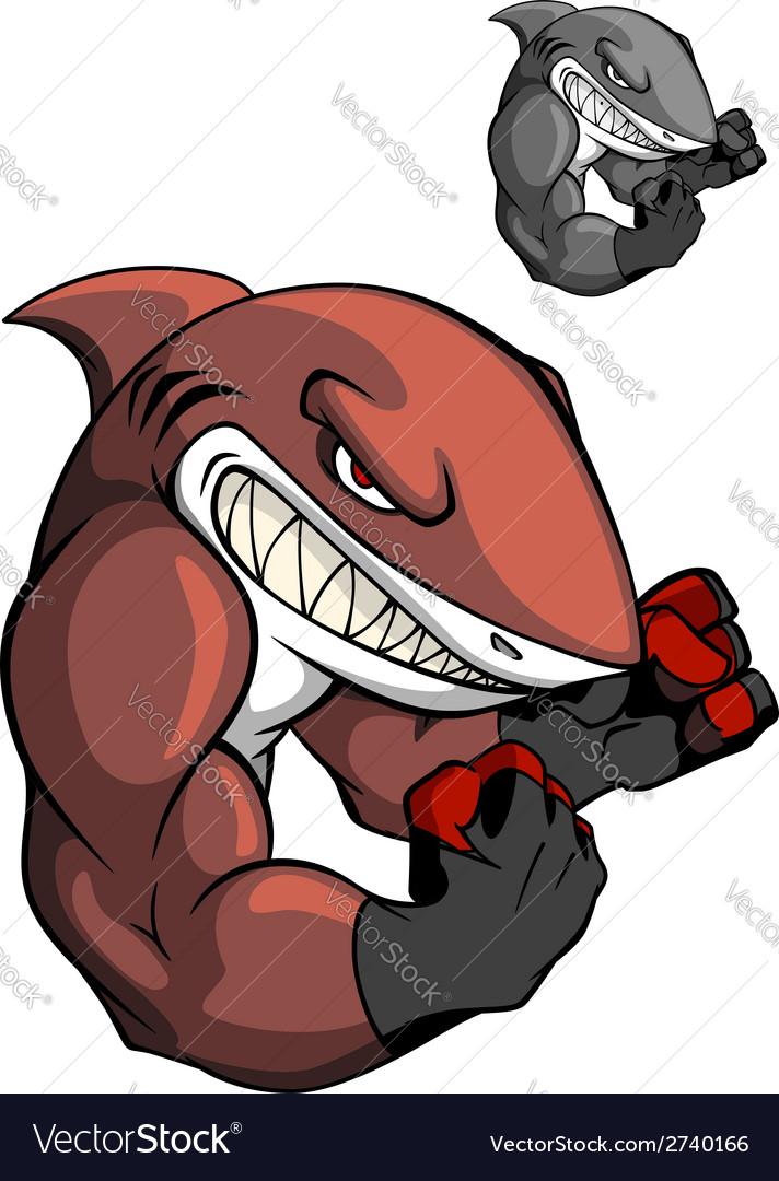 Angry cartoon boxing shark vector   Price: 1 Credit (USD $1)