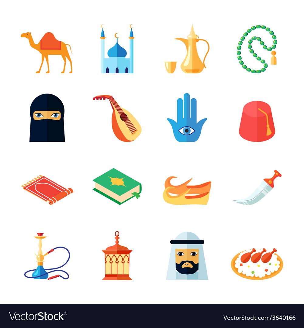 Arabic culture icon flat vector | Price: 1 Credit (USD $1)