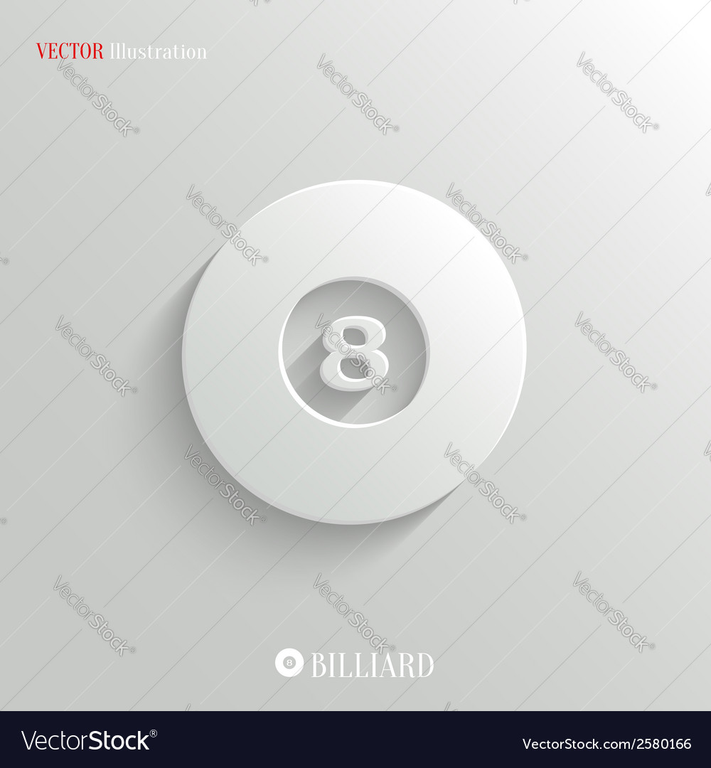 Billiard icon - white app button vector | Price: 1 Credit (USD $1)