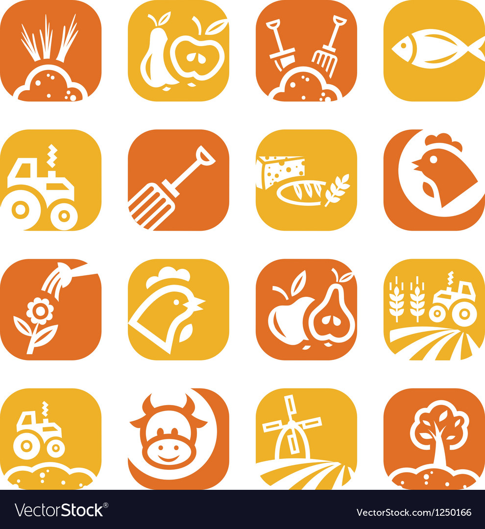 Color agriculture and farming icons vector | Price: 1 Credit (USD $1)